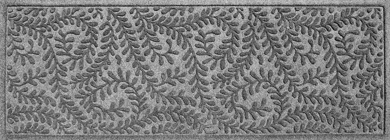 "Bungalow Flooring Waterhog Indoor/Outdoor Runner Rug, 22"" x 60"", Skid Resistant, Easy to Clean, Catches Water and Debris, Boxwood Collection, Medium Grey"