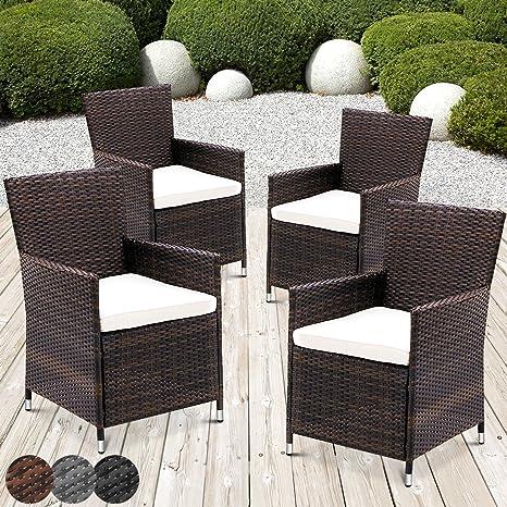 Miadomodo – Juego de 4 sillones de jardín de poliratán marrón Elegir