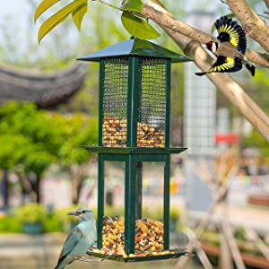 NEROSUN Hanging Wild Bird Feeders for Outside, Outdoors, Green Double-Layer Panorama Phone Gazebo Squirrel Proof Bird Feeder Decor for Yard Garden Decorations