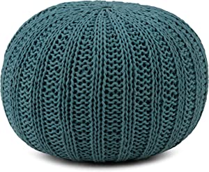 SIMPLIHOME Shelby Round Hand Knit Pouf, Footstool, Upholstered in Teal Cotton, for the Living Room, Bedroom and Kids Room, Transitional, Modern