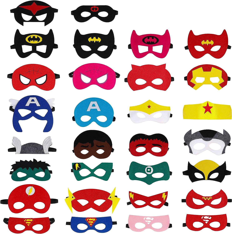 QH-Shop Máscaras de Superhéroe, Máscaras de Fieltro Mitad Máscara de Cosplay con Cuerda Elástica Máscaras de Ojos para Niños Mayores de 3 años 3