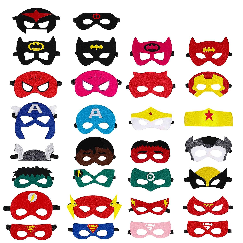 QH-Shop Máscaras de Superhéroe, Máscaras de Fieltro Mitad Máscara de Cosplay con Cuerda Elástica Máscaras de Ojos para Niños Mayores de 3 años 30 ...