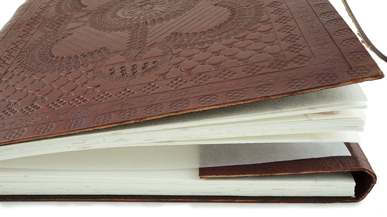 Leather Photo Album Large Hand Tooled 13 x 10 Handmade Pressed Flower Paper
