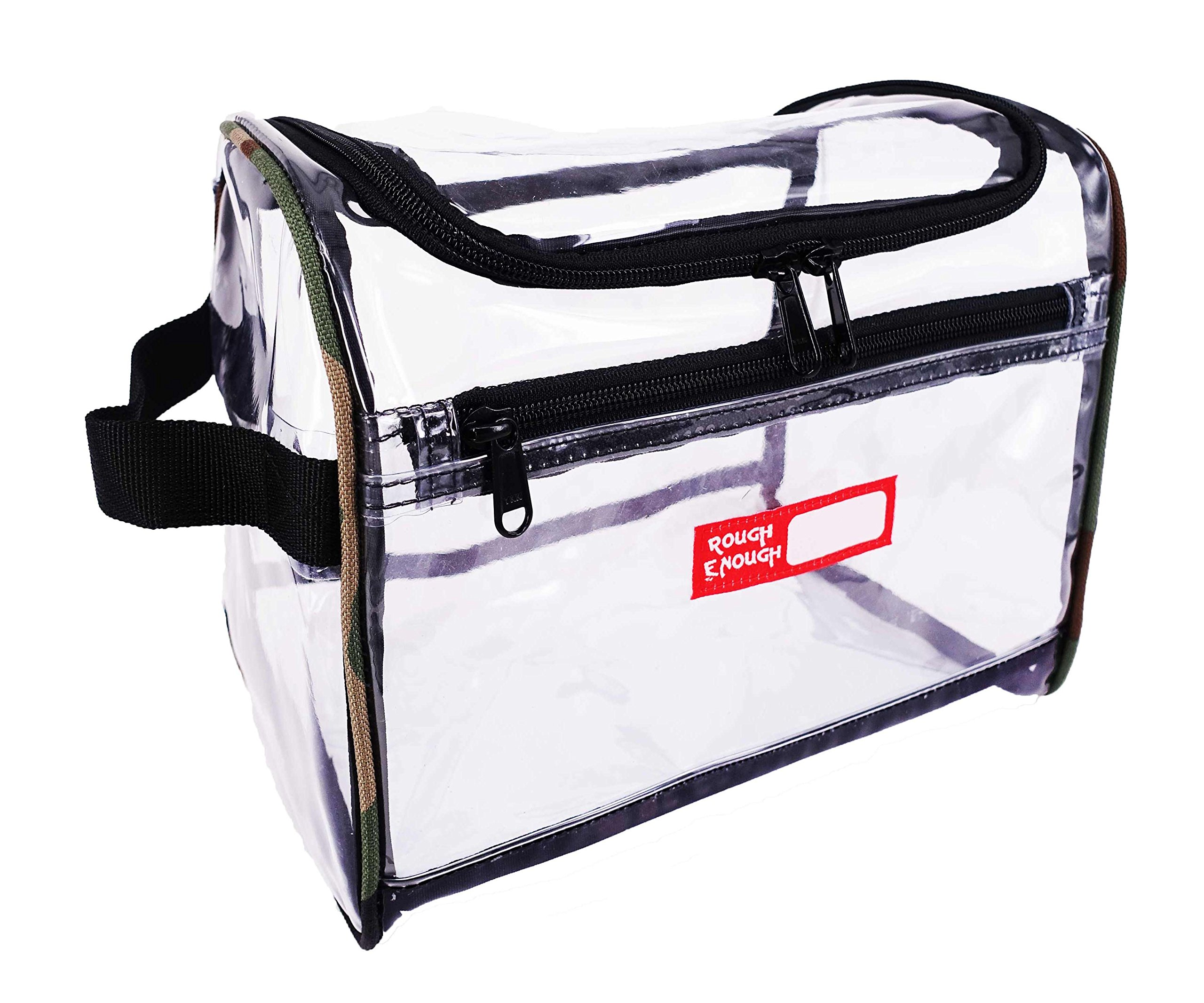 Rough Enough Transparent Large Capacity Toiletry Bag Big Volume Zippered Luggage Clear Travel Wash Bag Cosmetic Makeup Organizer Kit Box Set with Zipper for Trip Accessories Shampoo Personal Portable