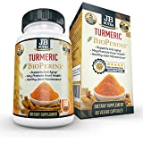 Organic Turmeric with BioPerine® - 60 Veggie Capsules - The Most Potent Curcumin Extract by JB NUTRA