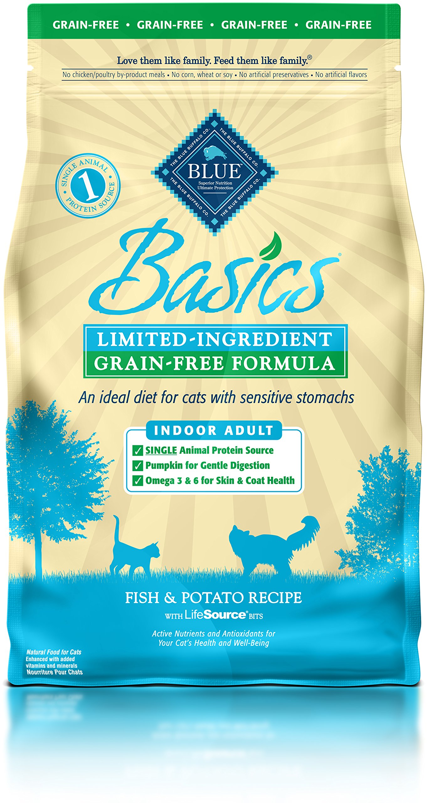 BLUE Basics Limited Ingredient Diet Grain Free, Natural Indoor Adult Dry Cat Food, Fish & Potato 11-lb