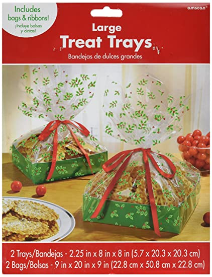 Holly Large Treat Tray with Cello Bag Christmas Party Gift Favour Giveaway (2 Sets)