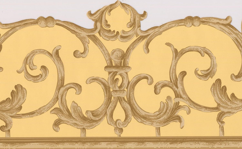 Victorian Brown Beige Vines Yellow Damask Wallpaper Border Retro ...