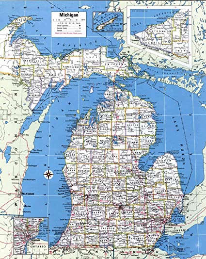 Home Comforts Laminated Map Large Detailed Administrative Map Of Michigan State With Roads And Cities Poster 24 X 36