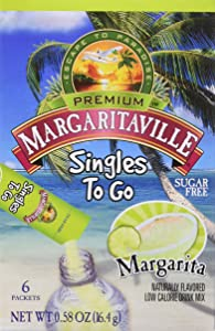 Margaritaville Singles To Go Water Drink Mix Flavored Non-Alcoholic Powder Sticks, Margarita, 6 Count