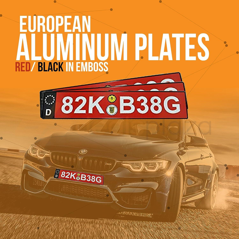 Dealsplaza German License Plate European License Plate Car Front License Red White Embossed Tag European License Plates for Front of Car