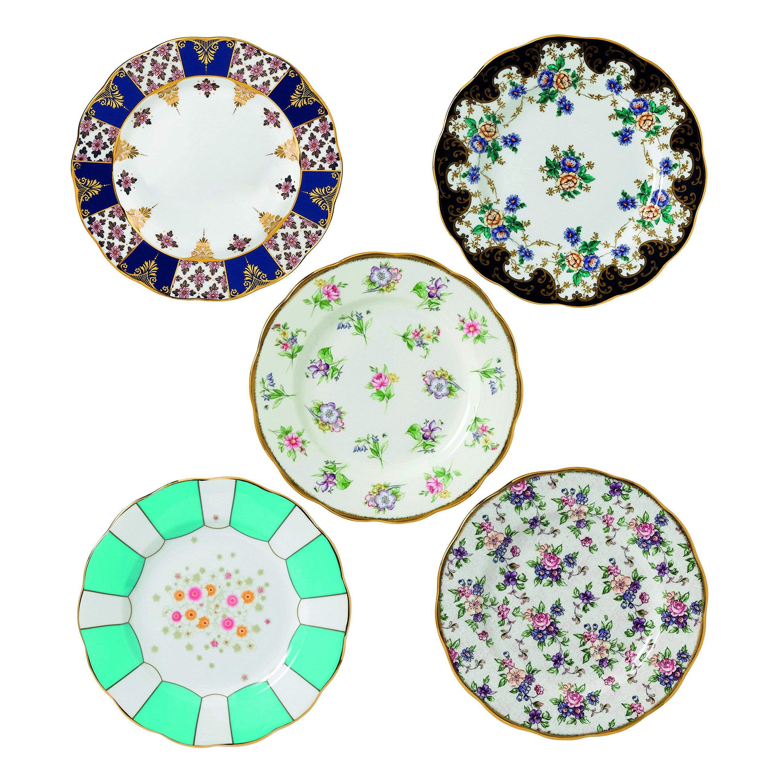 Royal Albert 5 Piece 100 Years 1900-1940 Plate Set, 8'', Multicolor