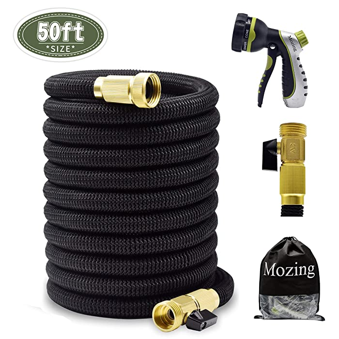 Mozing 50ft Expandable Garden Hose - Heavy Duty Expanding Water Hose with 3/4 Solid Brass Fittings & Premium 8 Functions Hose Nozzle