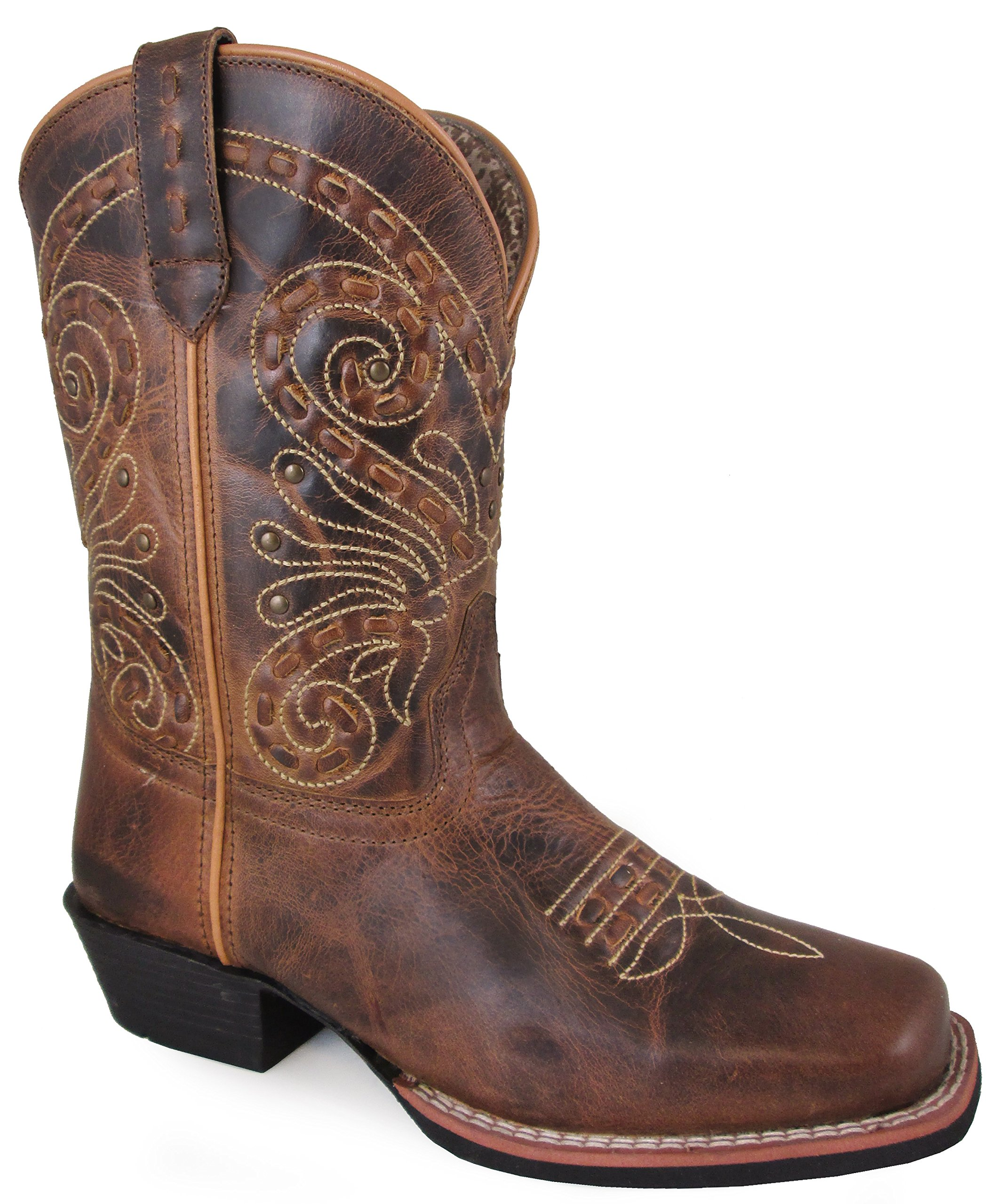 Smoky Mountain Women's Shelby Pull On Straps Stitched Design Square Toe Brown Waxed Distress Boots 9.5M