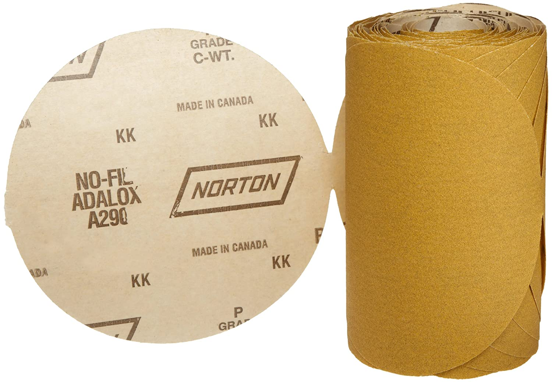Aluminium Oxide Roll of 100 Heavy Duty Grit 60 6 Diameter Norton A290 No-Fil Adalox Abrasive Disc Paper Backing