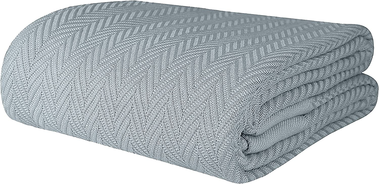 Threadmill Home Linen Queen Blanket - 1 Piece Herringbone Cotton Throw Blanket, Smooth 100% Extra Long Staple Cotton, Warm Scottish Grey Throw for Bed, Couch & Car