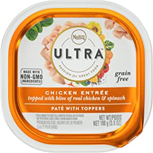 NUTRO ULTRA Grain Free Adult Soft Wet Dog Food Paté With Toppers Chicken Entrée topped with bites of real chicken & spinach, (24) 3.5 oz. Trays