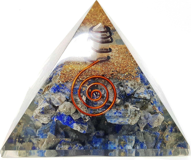 Auramore Lapis Lazuli Crystal Orgone Pyramid Kit/Includes 4 Crystal Quartz Energy Points/EMF Protection Meditation Yoga Energy Generator