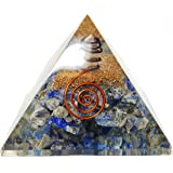 Lapis Lazuli Crystal Orgone Pyramid Kit / Includes 4 Crystal Quartz Energy Points / EMF Protection Meditation Yoga Energy Generator