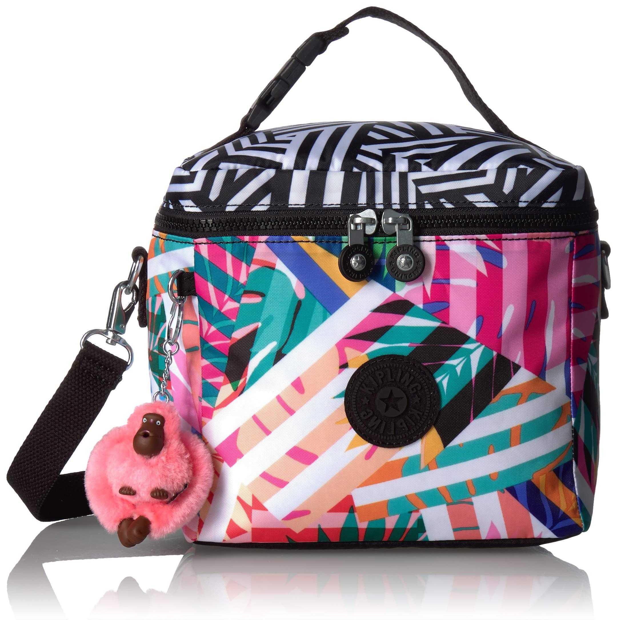 Kipling Graham Insulated Lunch Bag, Adjustable Crossbody Strap, Zip Closure, Black Print Combo