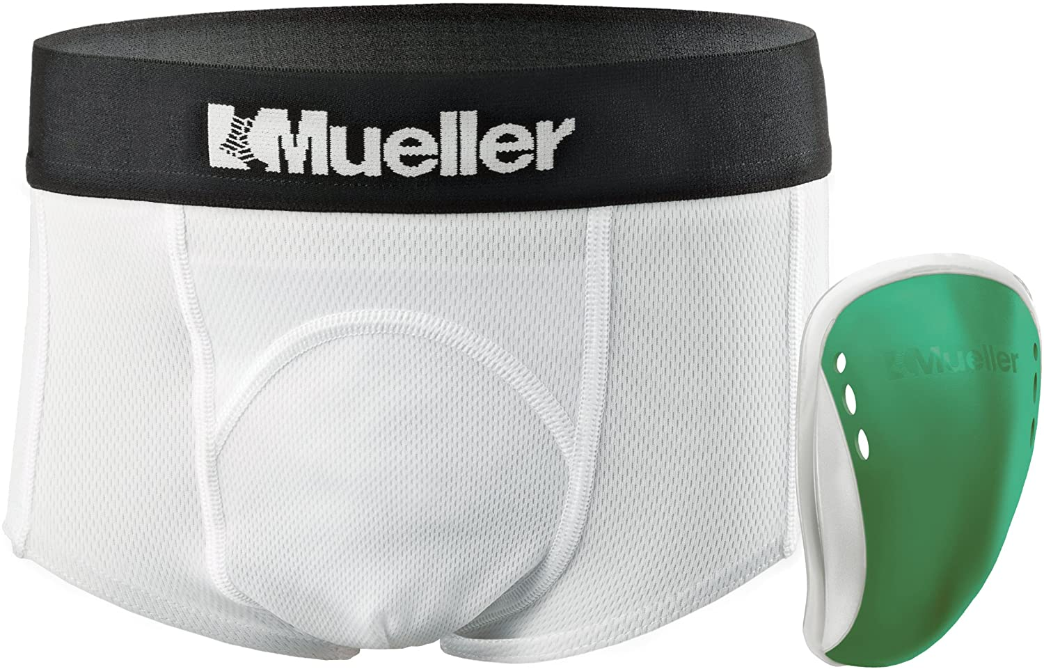 Mueller Athletic Support Brief with Flex Shield Cup, White/Green, Peewee Large