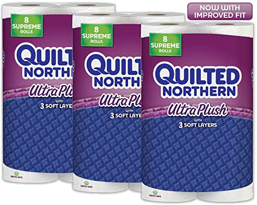 Quilted Northern  Ultra Plush Toilet Paper, 24 Supreme Rolls (Three 8-roll packages), Equivalent to 92+ Regular Rolls