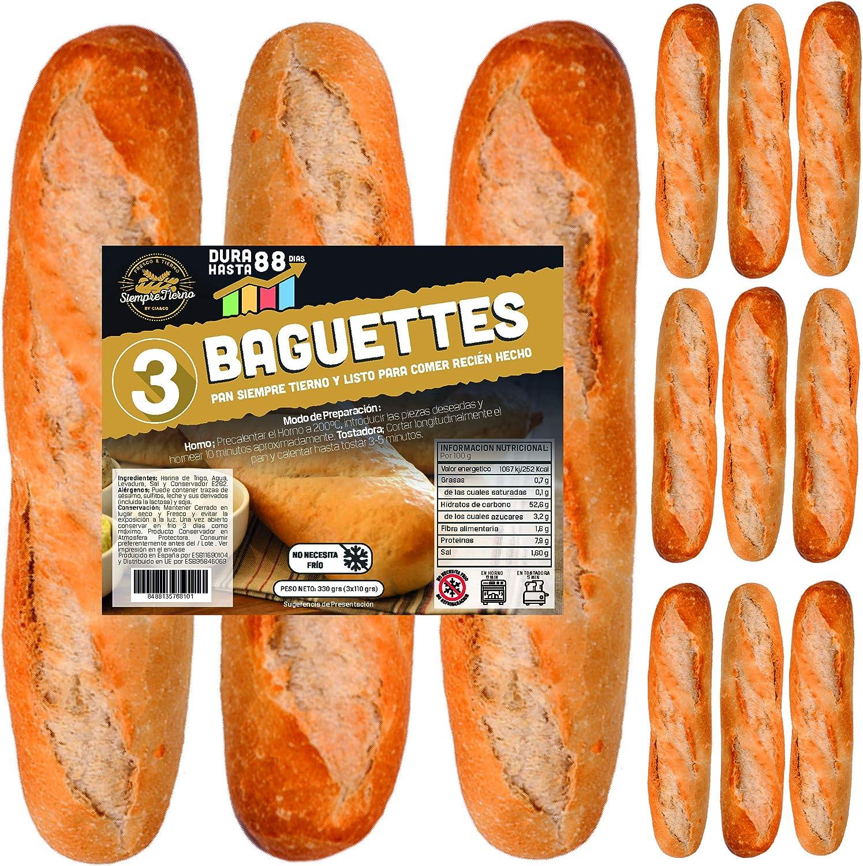 12 x Baguettes de Pan SiempreTierno 110 grs (1320 grs total) · Dura hasta 88 días sin necesitad de frio ni congelación · Ideal para cualquier momento ...