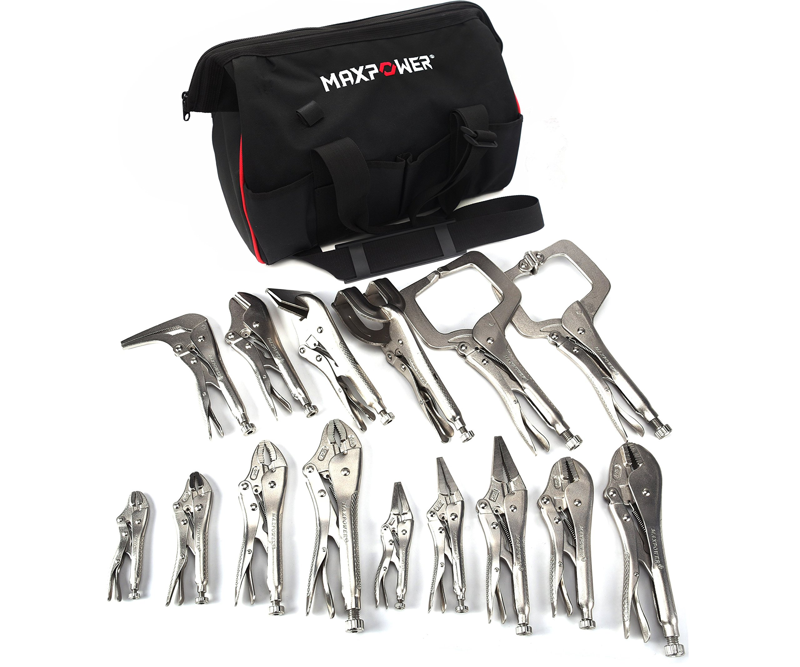MAXPOWER 15 Piece Locking Pliers Set, Complete locking pliers set for all purposes in Wide Open Mouth Tool Bag by MAXPOWER
