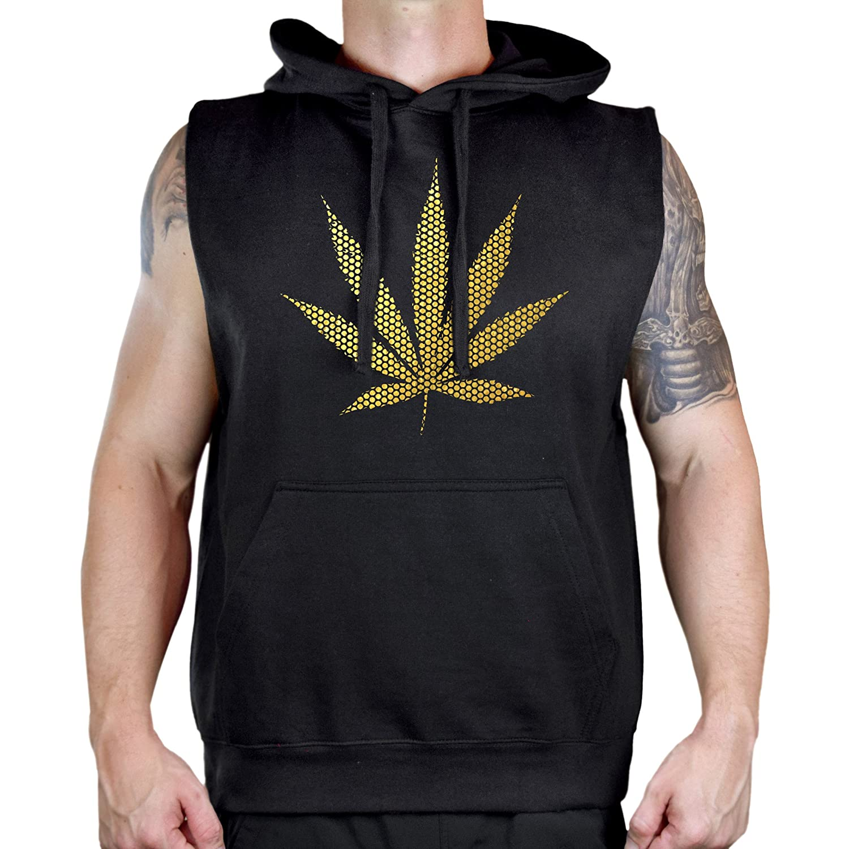 Mens Gold Foil Polka Dot Weed Leaf Sleeveless Vest Hoodie