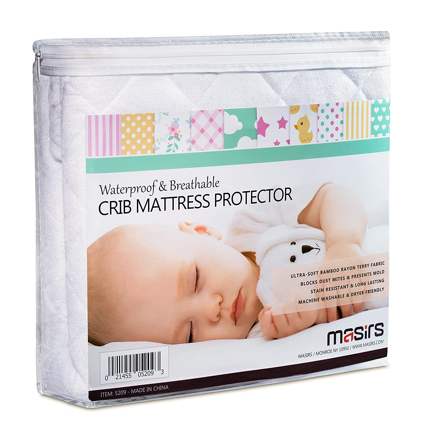 Crib Mattress Protector Cover - Comfortable, Breathable and Waterproof Bamboo Material. Keep the Crib Mattress Clean and Protected and Give your Baby a Cozy Restful Sleep. Machine and Dryer Friendly. Masirs 5209