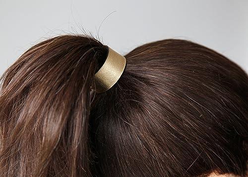 Gold leather ponytail holder 36bfa43b442
