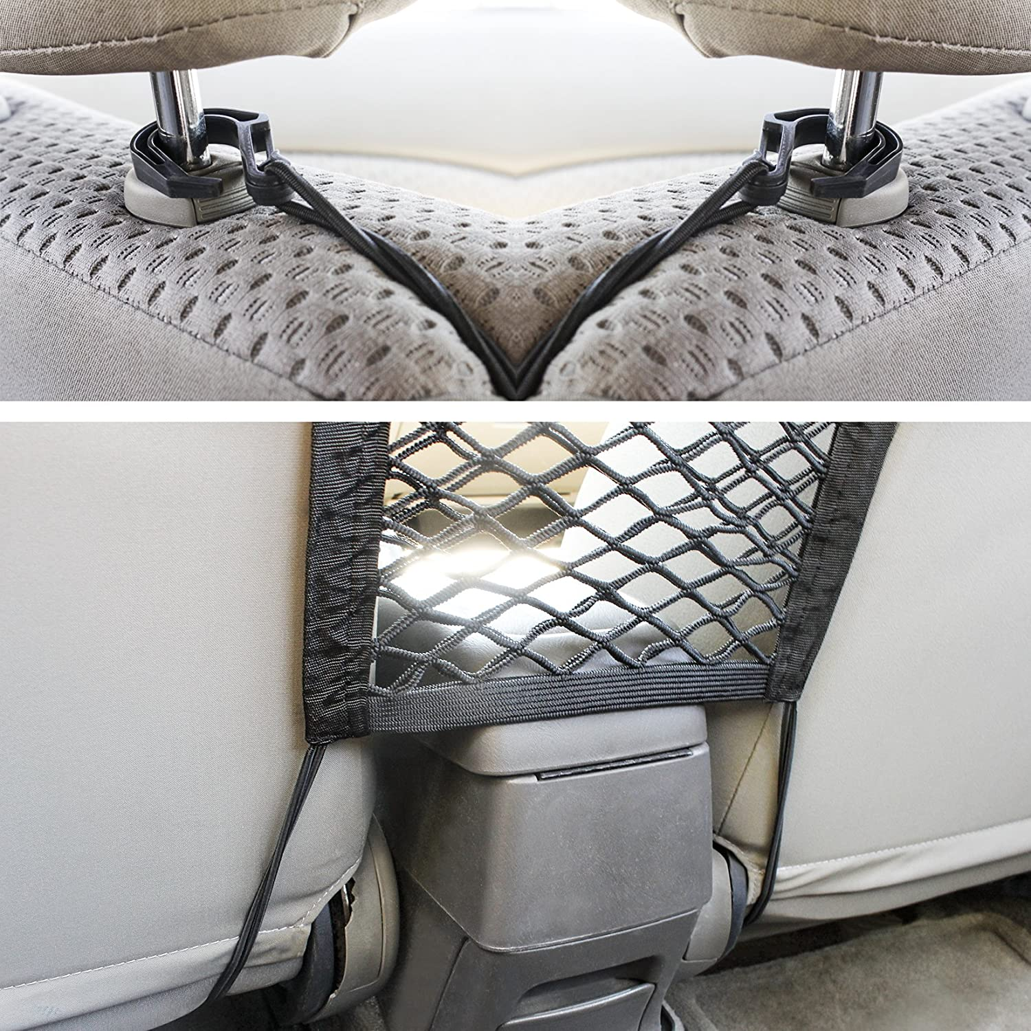 Barrier Net Disturb Stopper from Children and Pets Backseat Universal Stretchy Mesh Net Storage Juvale Car Seat Net Organizer 10.5 x 10.5 Inches 4350419585 Black Cargo Holder