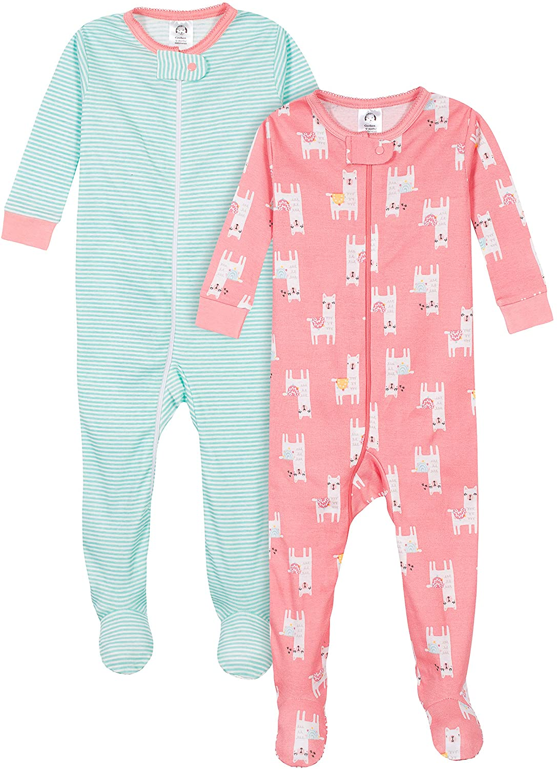 Gerber Baby-Girls Organic 2 Pack Cotton Footed Unionsuit Sleepers