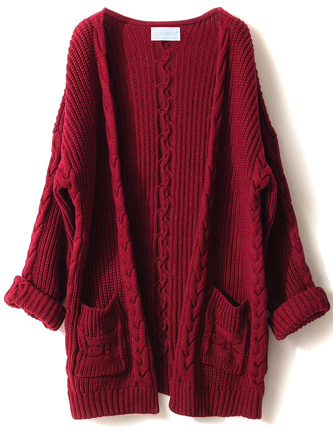 LONGMING Women's Cashmere Long Sleeve Open Front Winter Cardigan Sweater