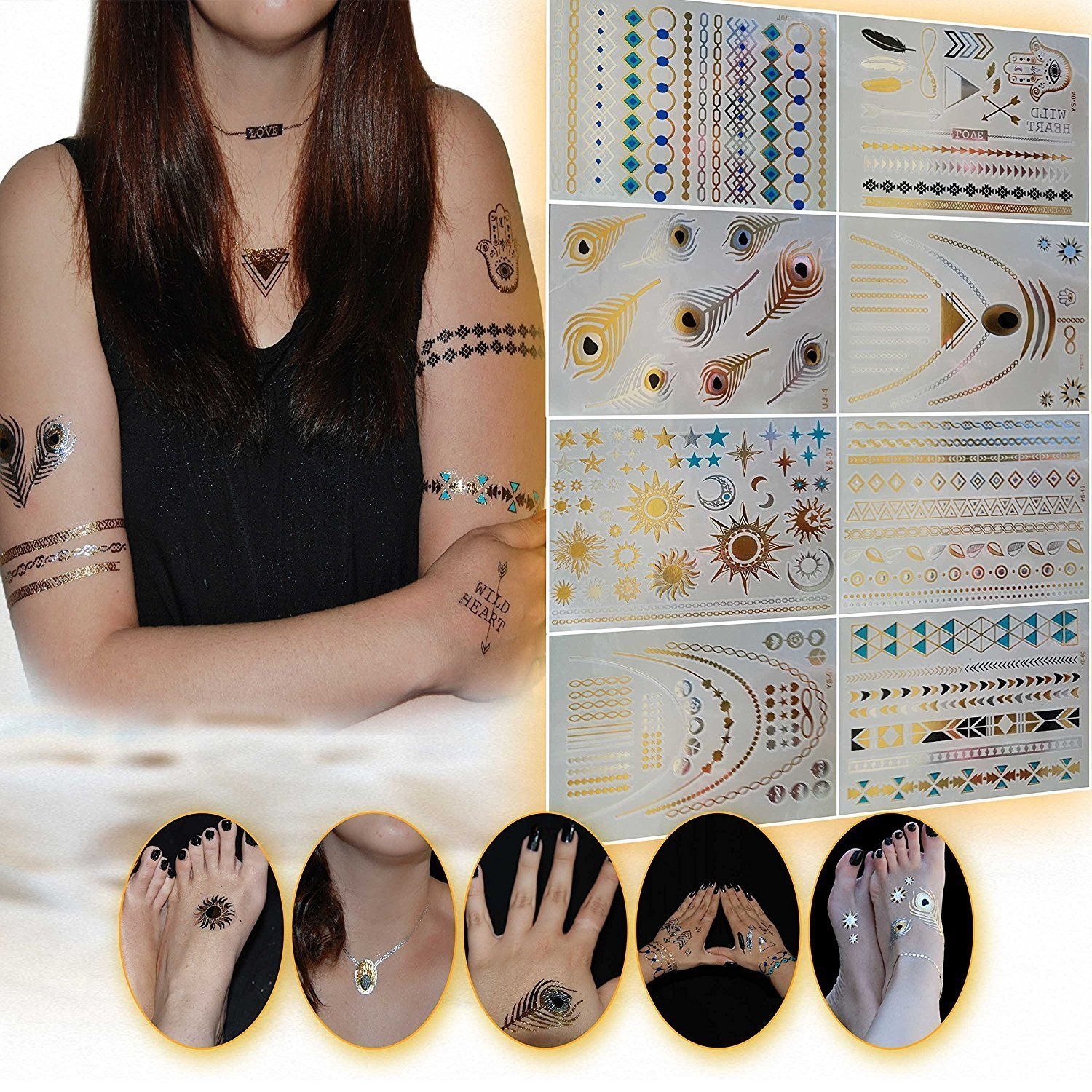 Metallic Temporary Tattoos - 150+ Color Flash Hot Fake Waterproof Tattoo Stickers Jewelry Inspired Temporary Tattoos in Gold, Silver, Black & Turquiose (8 Sheets)