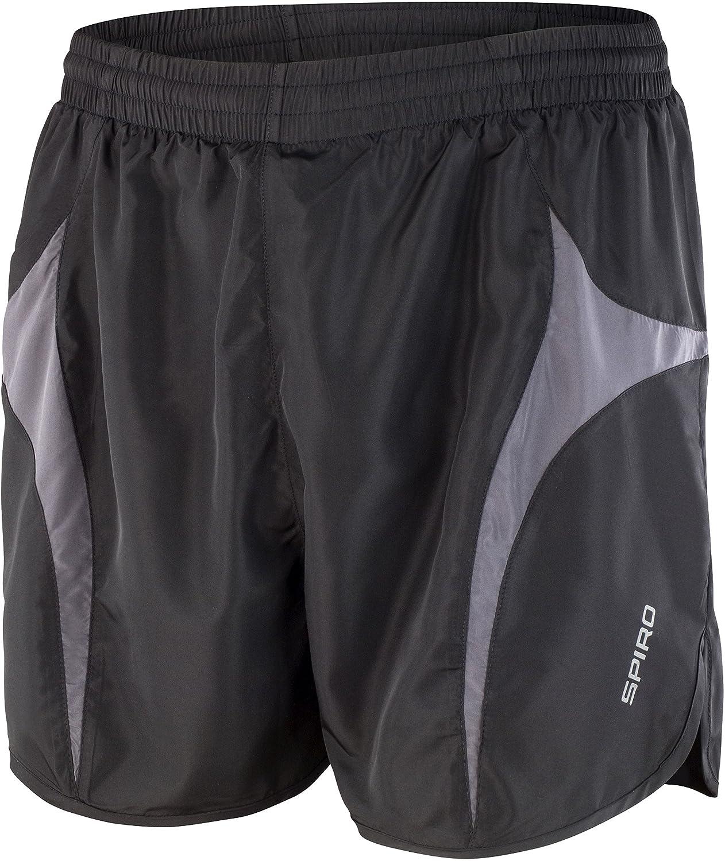 Spiro Pantalones de Micro Lite Correr Pantalones Cortos, Liso, Hombre, Color Grey/Aqua, tamaño Small amazon beige Camisetas polo
