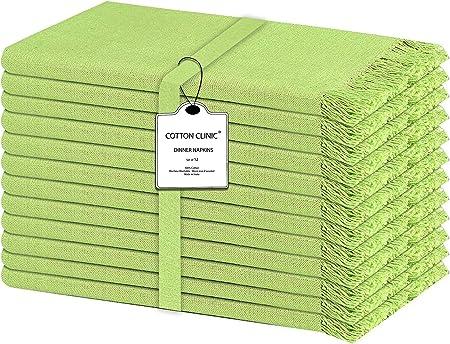 Clinica de Algodón Pack de 12 Servilletas de Tela con flecos 50 x 50 cm, Servilletas de Algodón, Calidad de Hotel Duradera, para Boda, Eventos y Uso Doméstico Regular Verde Lima: Amazon.es: Hogar