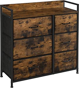 SONGMICS Drawer Dresser, Closet Storage Dresser, Chest of Drawers, 6 Fabric Drawers and Metal Frame with Handles, Rustic Brown and Black ULTS123B01