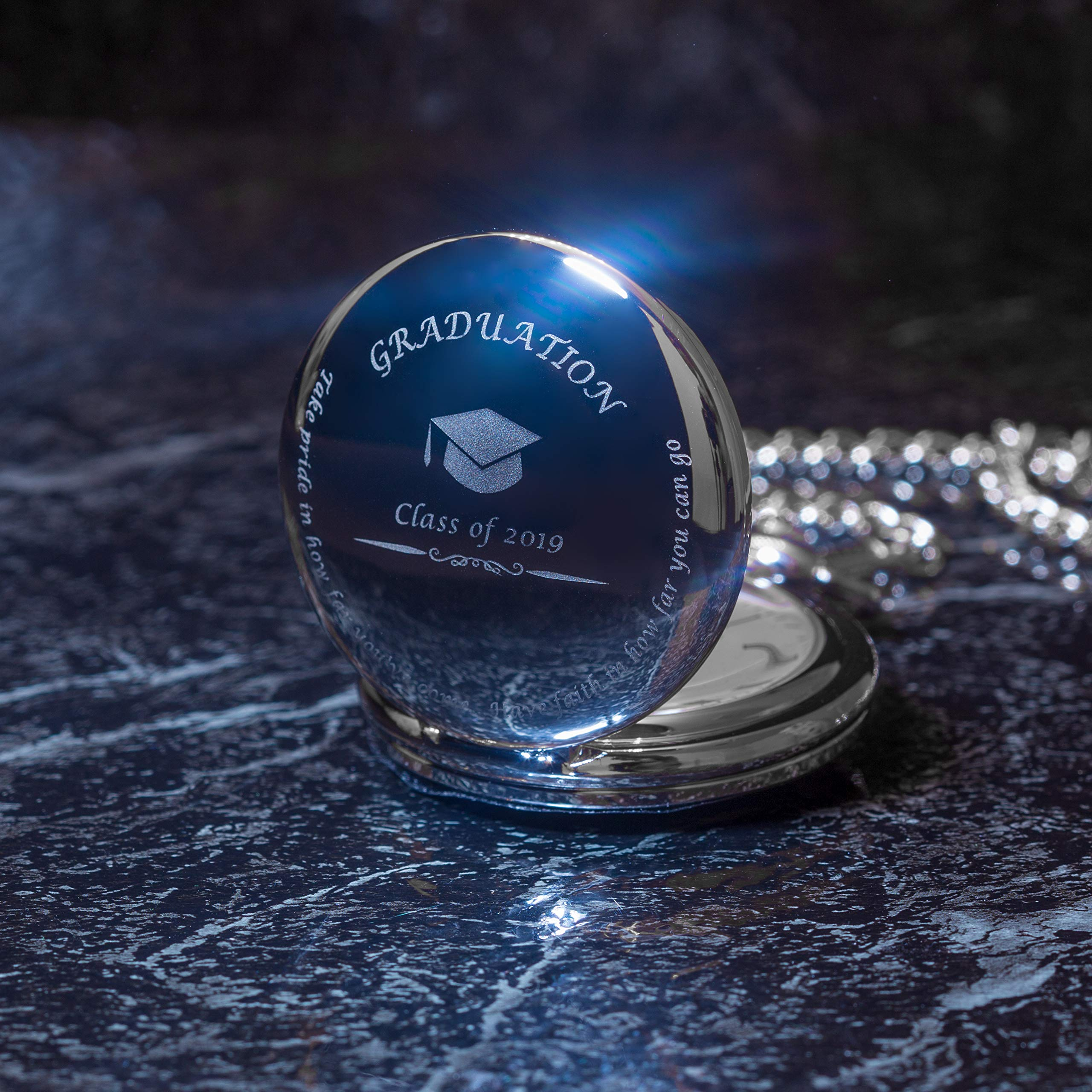 Graduation Gifts for Him - Pocket Watch - Engraved 'Class of 2019' - Perfect College / High School Graduation Gift or Present for Son | Him in 2019 by FREDERICK JAMES (Image #2)