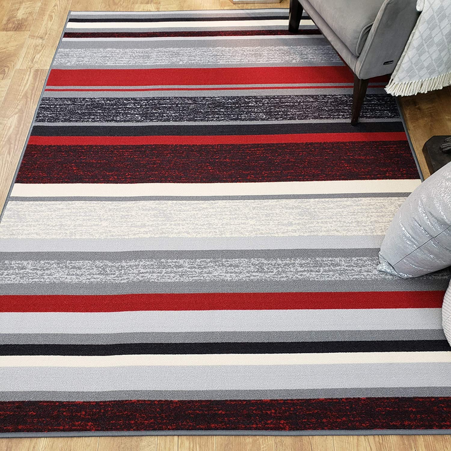 Area Rug 3x5 Red Black Stripes Kitchen Rugs and mats | Rubber Backed Non Skid Living Room Bathroom Nursery Home Decor Under Door Entryway Floor Non Slip Washable | Made in Europe