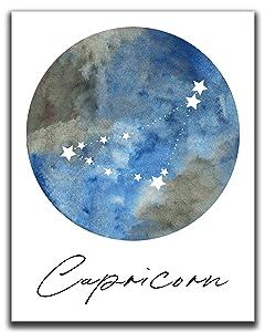 "Capricorn Zodiac Astrological Sign Constellation Moon Wall Art - 14x11"" UNFRAMED Print - Star Sign Print, Astrology Wall Decor - Capricorn Gifts"