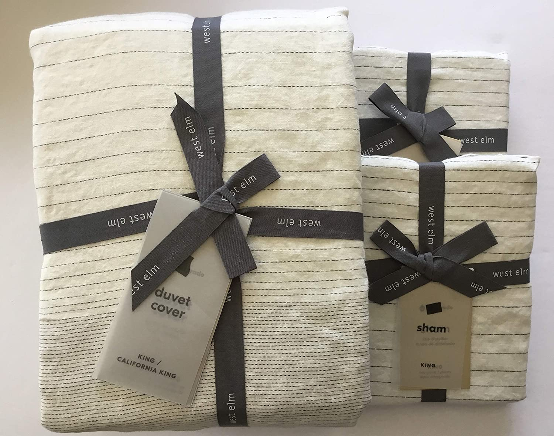 Amazon Com West Elm Belgian Flax Linen Graduated Stripe Duvet