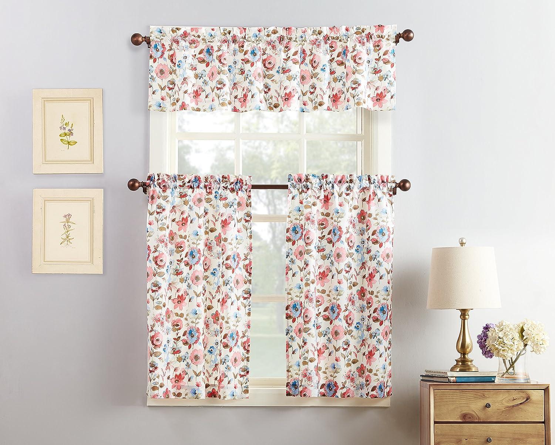 "No. 918 Dora Floral Microfiber 3-Piece Kitchen Curtain Set, 54"" x 36"", Coral"