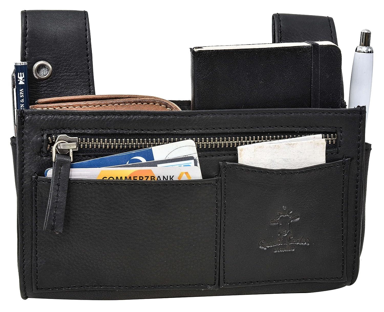 Sacoche de serveur Gusti Cuir studio Pauline sac serveur /étui ceinture pochette serveur portefeuille serveur homme femme cuir de buffle noir 2A140-22-9