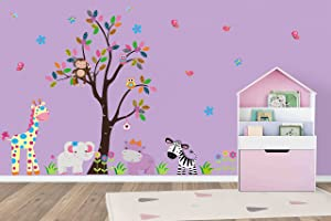 Baby Girls Nursery Decals | Amazon and Jungle Themed | Pink Colors | Purple Colors | Eclectic | Spotted | Cute Nursery Ideas | Nursery Inspiration | Baby Room Decor | Giraffe | Hippo | Zebra | Tree