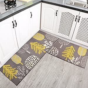 Homcomoda 2 Pieces Kitchen Mats Washable Runnner Rugs Rubber Backing Kitchen Mats and Rugs Sets Floral Non-Skid Doormats (18×27+18×47 Inch) s