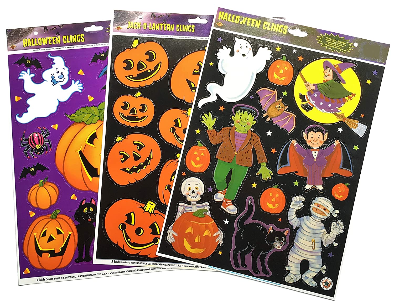 Beistle 3-Pack Halloween Window Sticker Clings Bundle Featuring Pumpkins, Ghosts & More