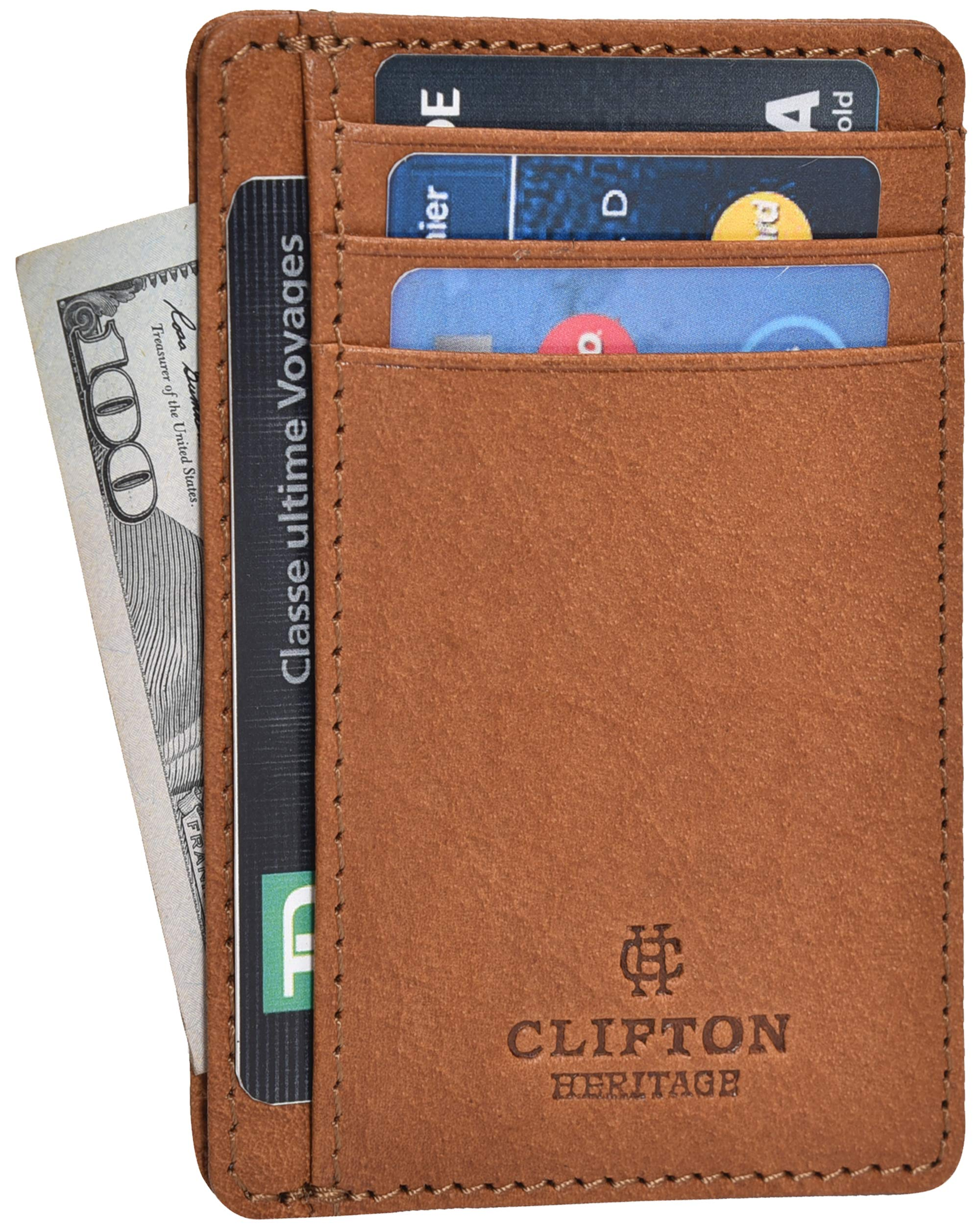 RFID Front Pocket Slim Wallets- Genuine Leather Handmade Minimalist Credit Card Holder By Clifton Heritage (Small, Cognac Vintage Wax) by Clifton Heritage