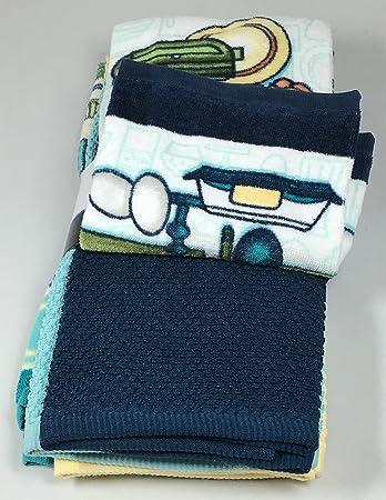 Amazon.com: Kitschy Kitchen Towels 5 Piece Set - 2 Print and 3 Plain: Home & Kitchen