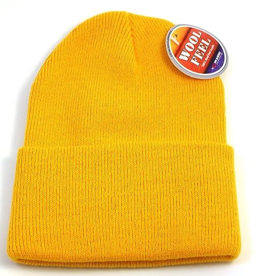 42f4963a7f834 Yellow Gold Knit Cap Cuffed Long Beanie Hat Hats Snowboard Winter ...